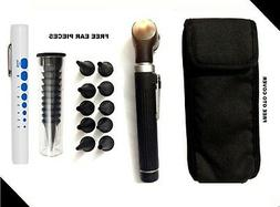 Black LED Light Mini Fiber Optic Pocket Ent Medical Otoscope