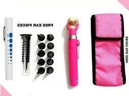 Pink LED Light Mini Fiber Optic Pocket Ent Medical Otoscope